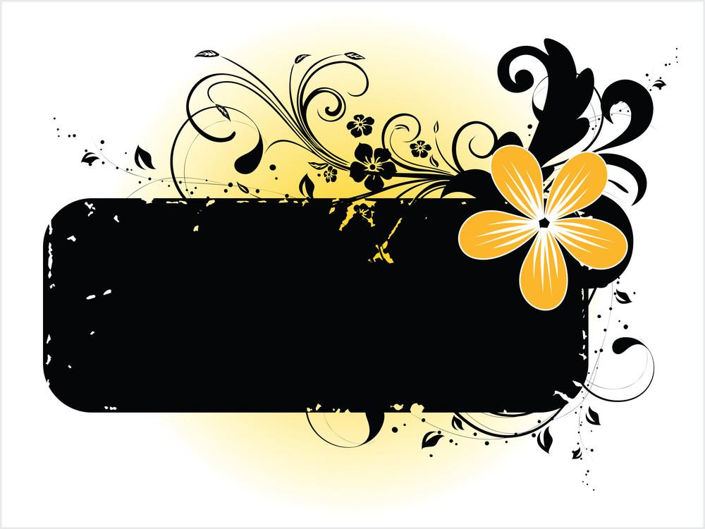 Black Floral Design Banner