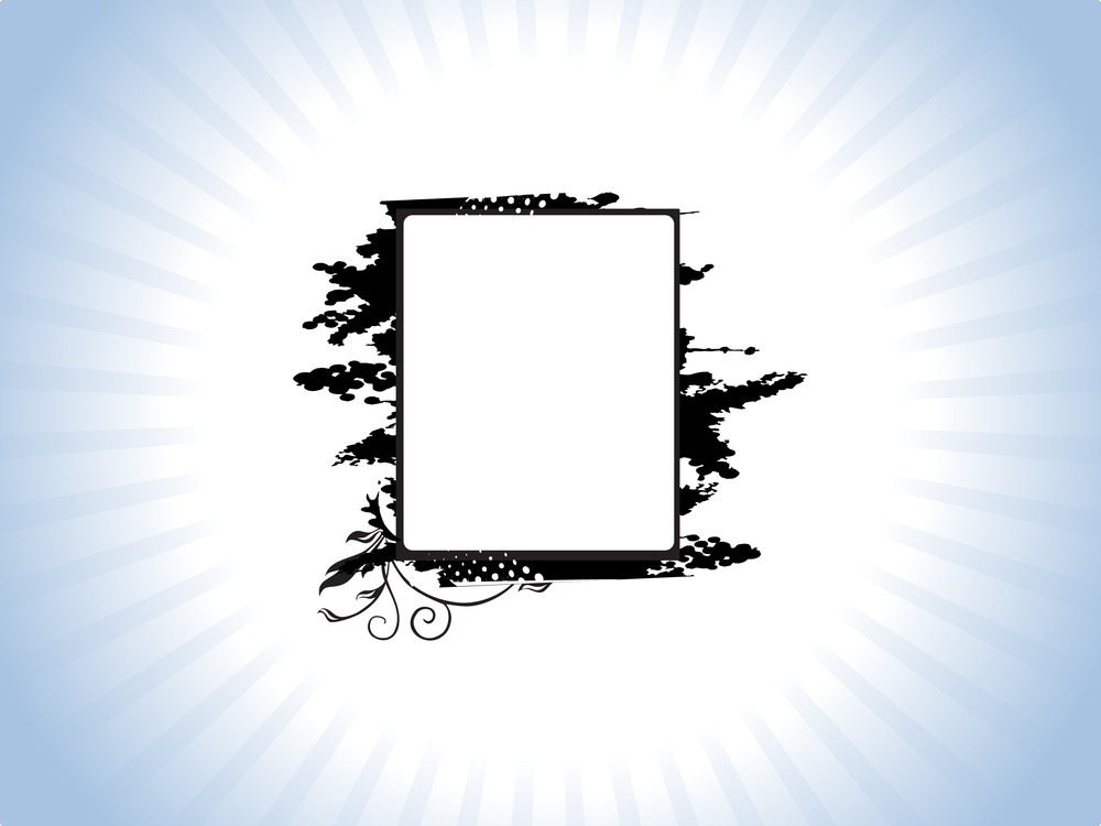 Black Grunge Frame With Flowers On Purple Background