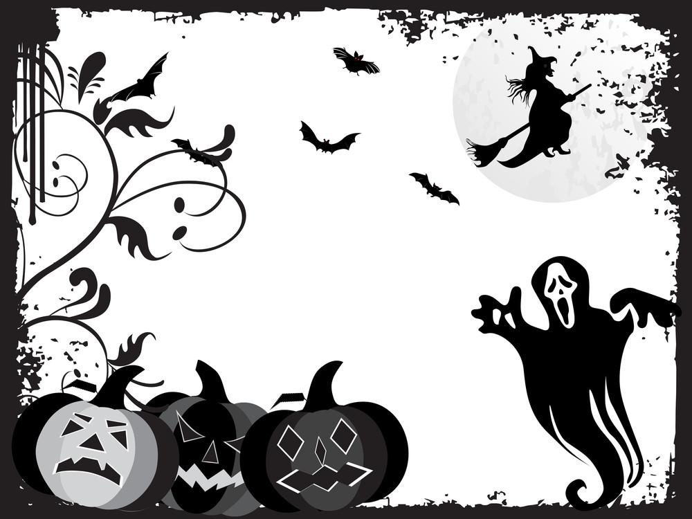 Black Grunge Frame With Halloween Background