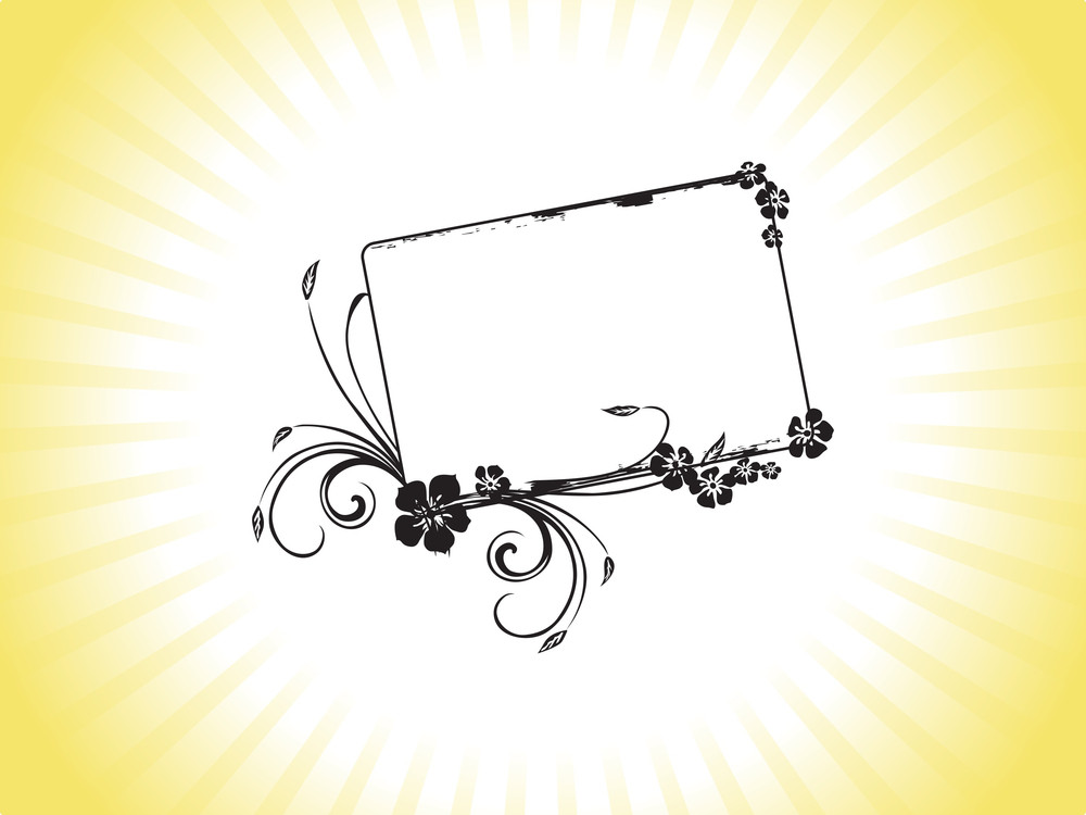 Black Grungy Frame With Flowers On Yellow Background