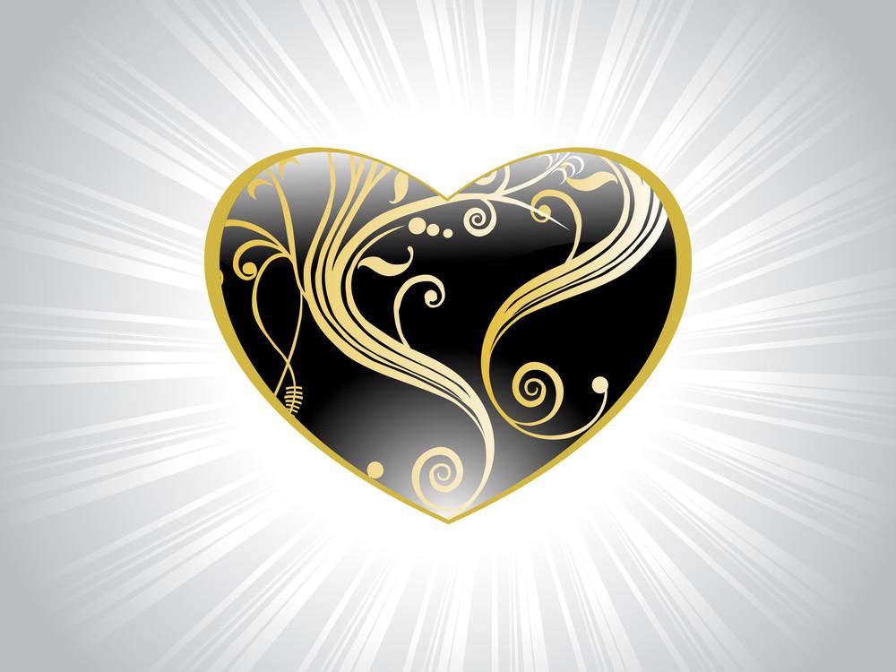 Black Heart With Swirl Design