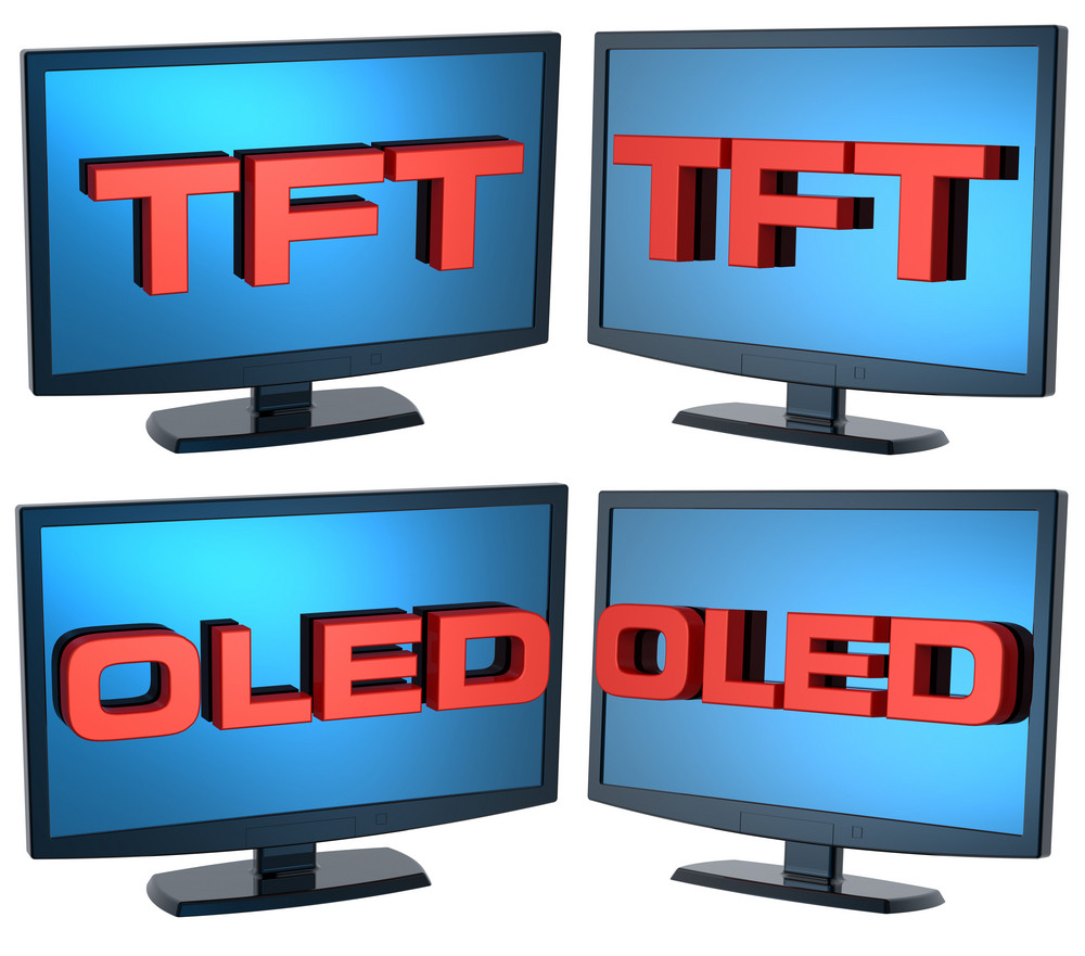 Black Lcd Tv Monitors Set On White Background.