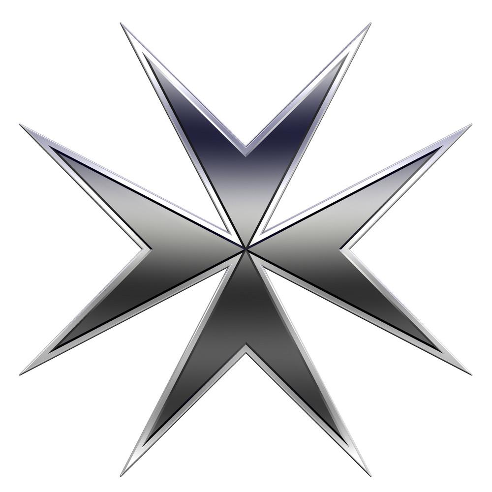 Black Maltese Cross Isolated On White.