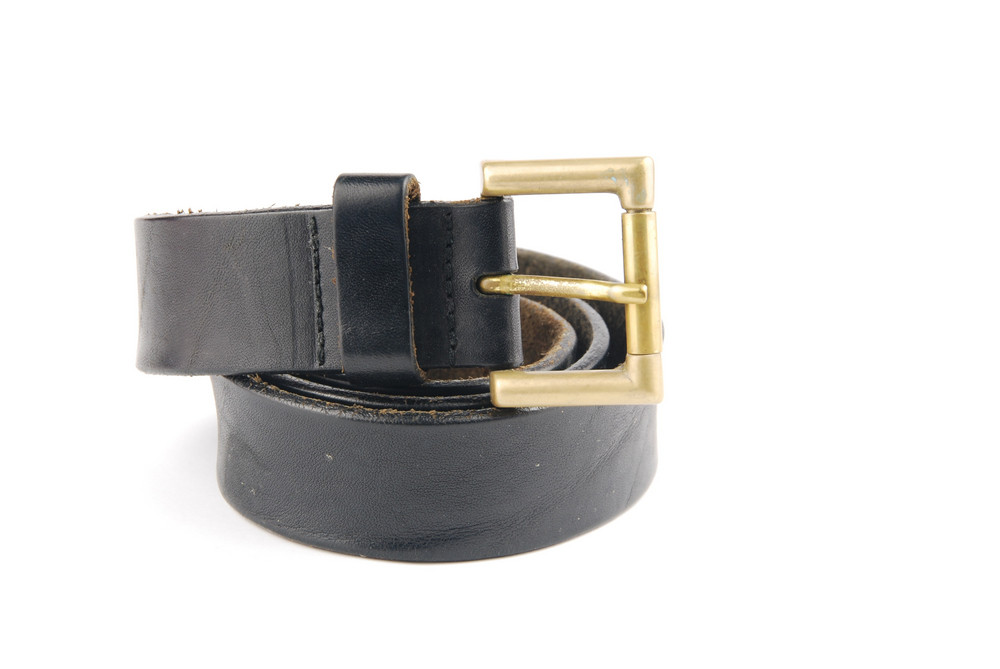 Black Man Leather Belt On White