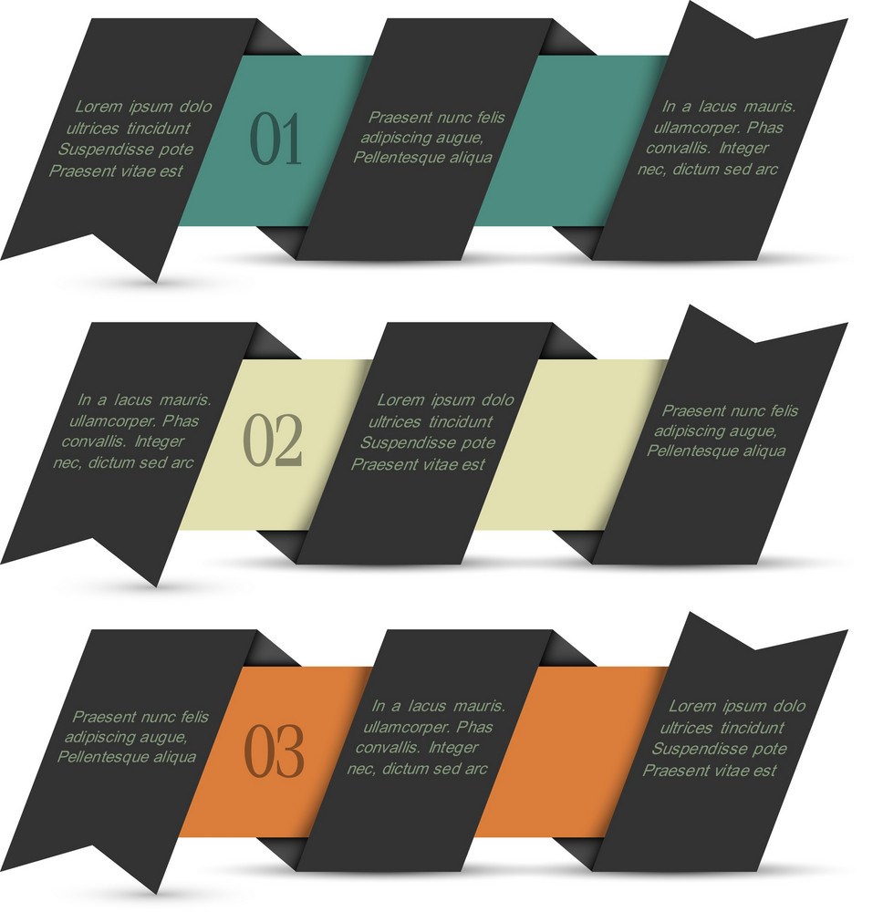 Black Origami Paper Numbered Banners