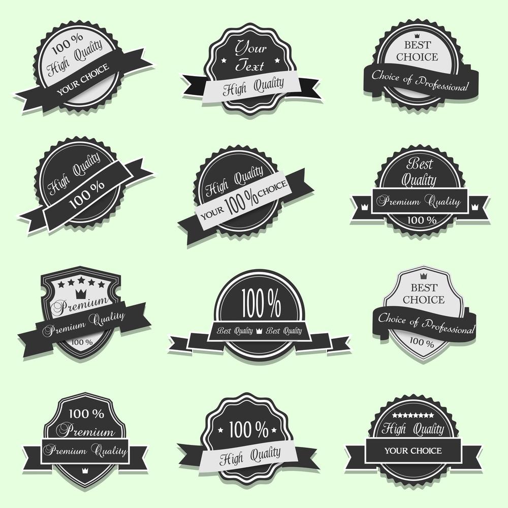 Black Premium Quality Labels. Vector Set