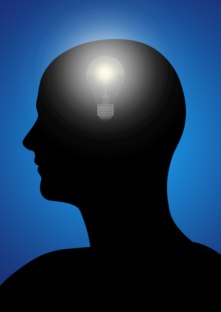 Black Profile Of A Man With Gears And A Light Bulb