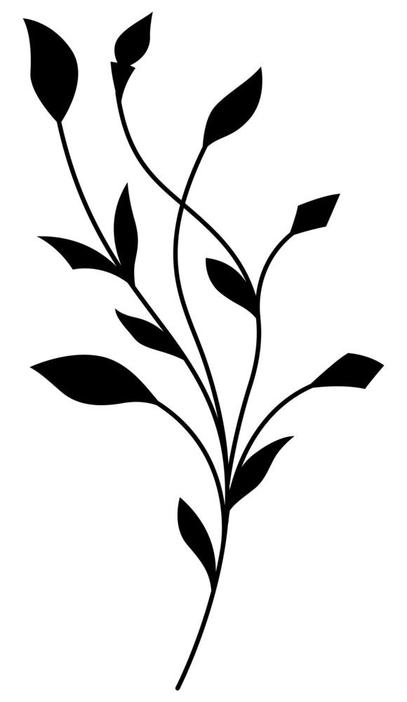 Black Shape Floral Element
