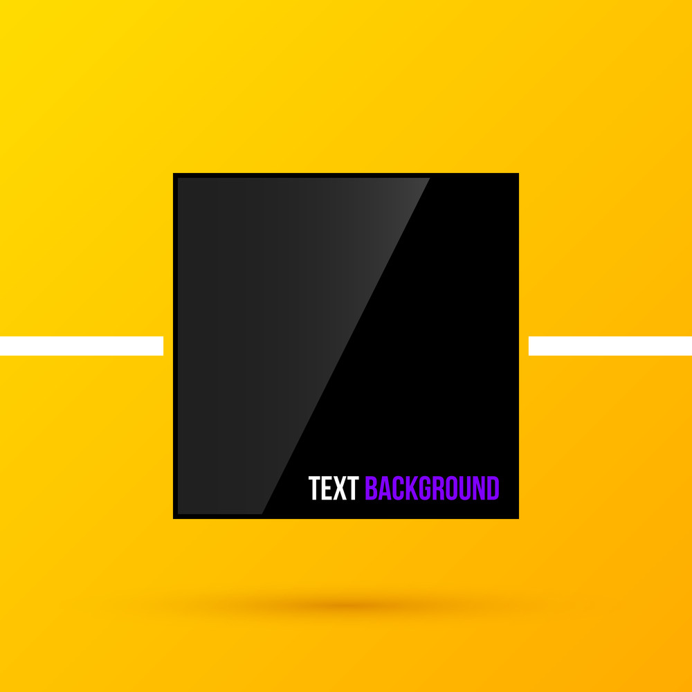 Black Square Text Frame On Bright Yellow Background In Modern Corporate Style. Eps10