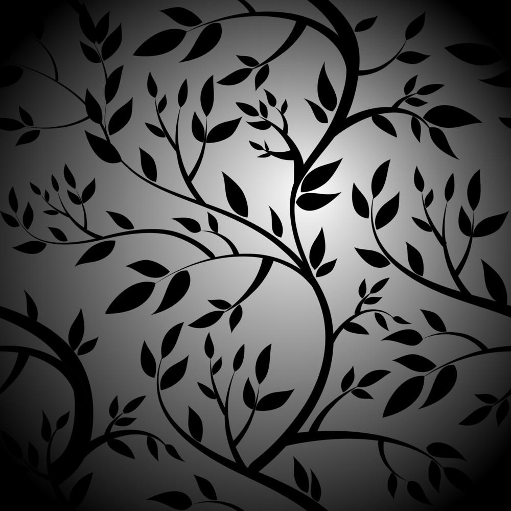 Black Trees. Seamless Vector Wallpaper-
