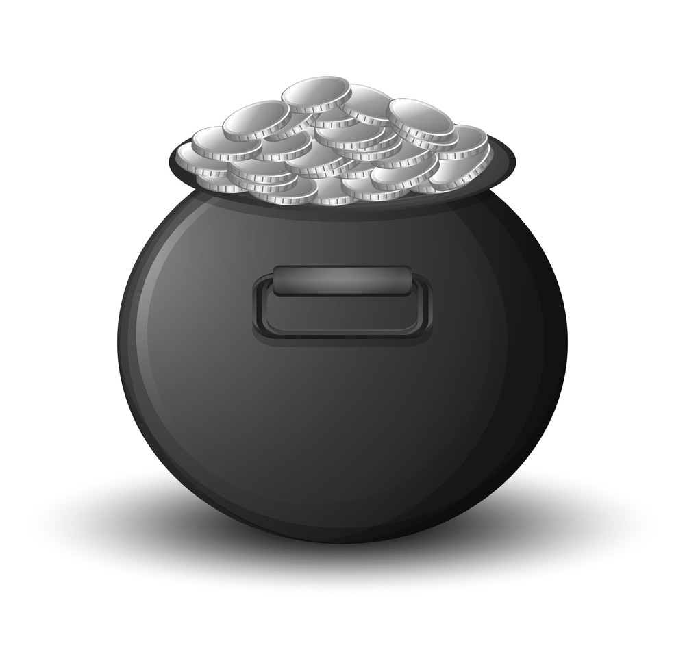 Black Vector Cauldron Full With Silver Coins