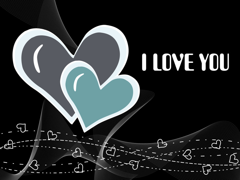 Black Wave Background With Romantic Heart