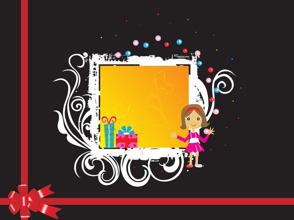 Black Wedding Card Background With Cute Girl
