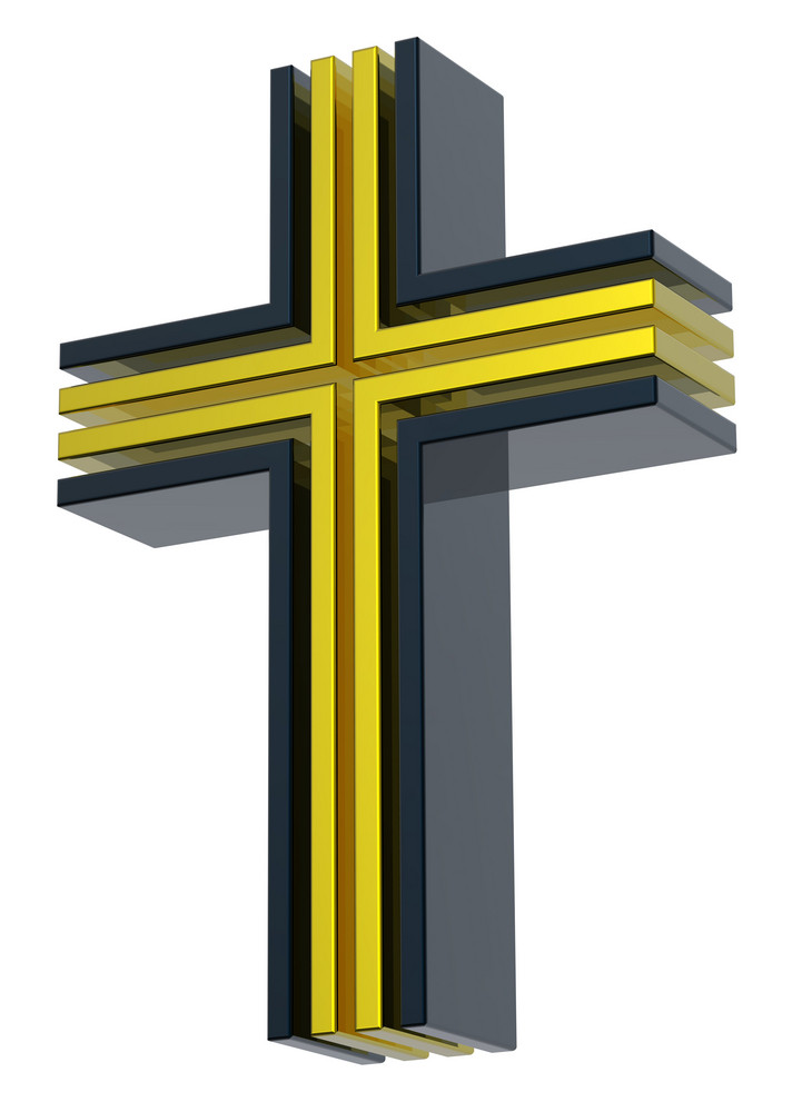 Black With Gold Christian Cross Isolated On White.