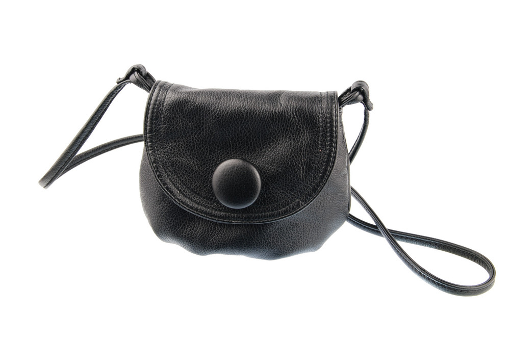 Black Woman Leather Bag On White