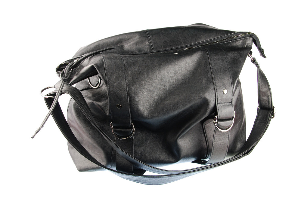 Black Woman Leather Bag On White