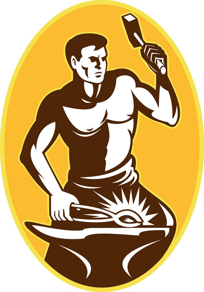 Blacksmith With Hammer Striking Anvil