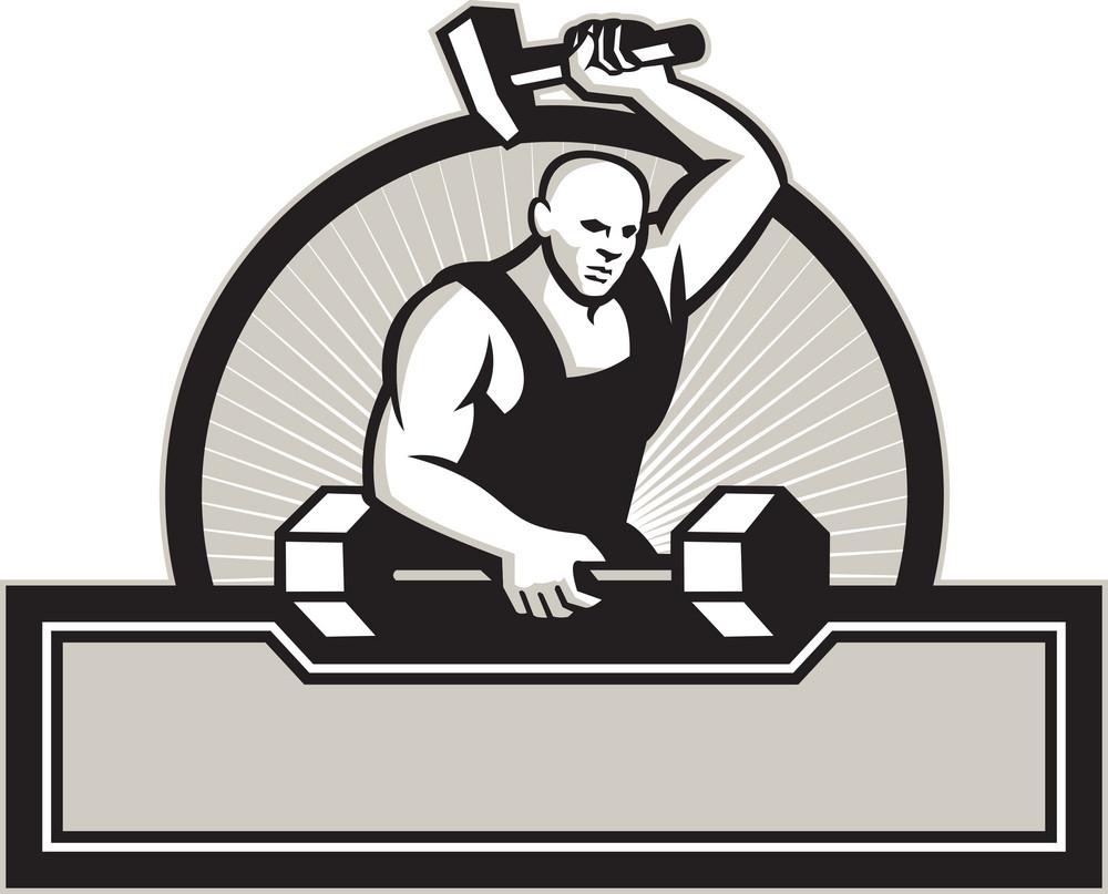 Blacksmith With Hammer Striking Barbell