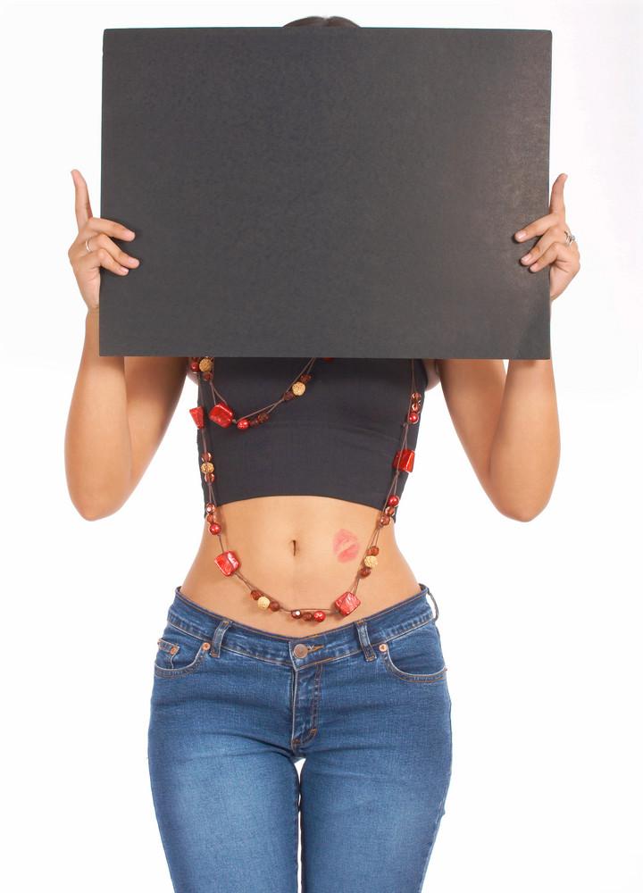 Blank Board Held By Sexy Woman