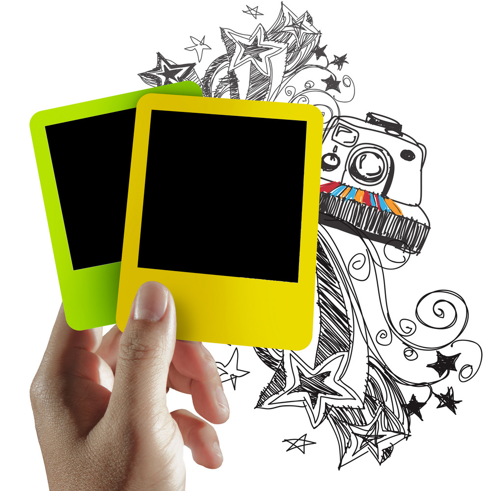 Blank Colorful Photo Frame And Doodle Background