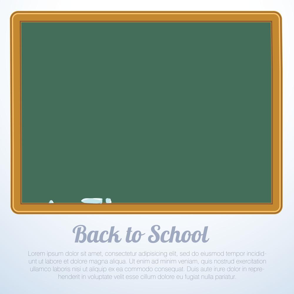 """Blank Green Chalkboard, Blackboard Vector """"back To School"""" Background"""