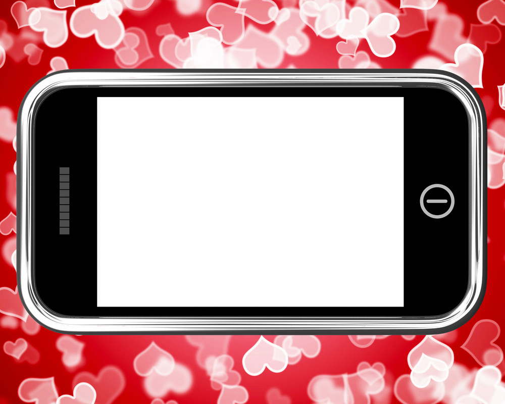 Blank Mobile Phone Screen With Hearts Background