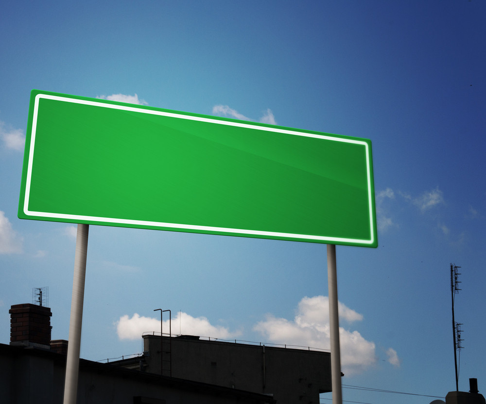 Blank Road Sign In City