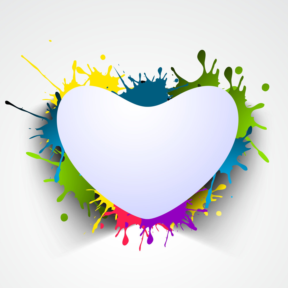 Blank Shiny Heart On  Grungy Background