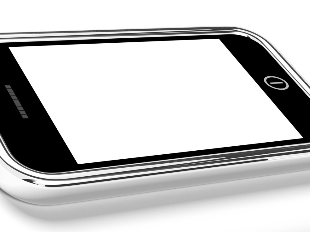 Blank Smartphone Mobile Screen With White Copyspace