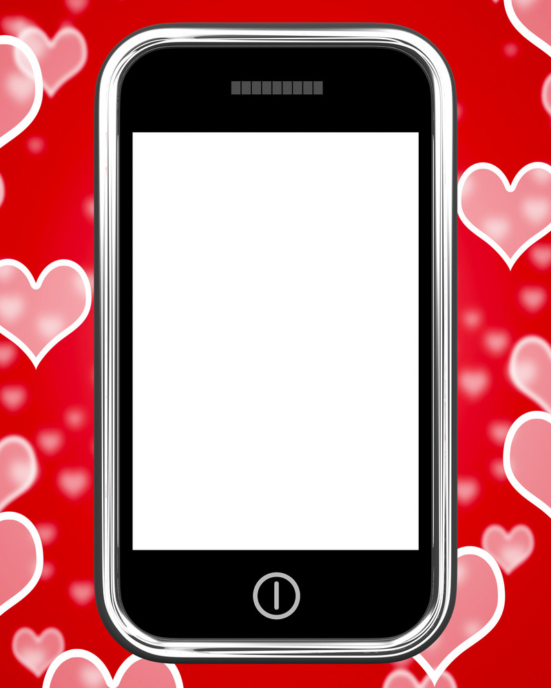 Blank Smartphone Screen With Hearts Background