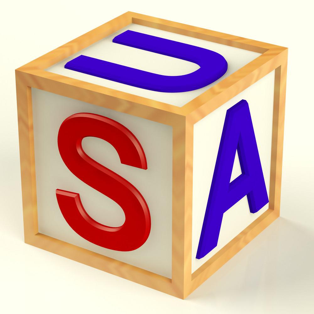 Block Spelling Usa As Symbol For  America And Patriotism