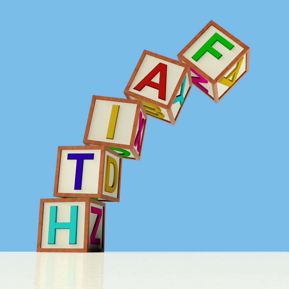 Blocks Spelling Faith Falling Over As Symbol For Lack Of Trust