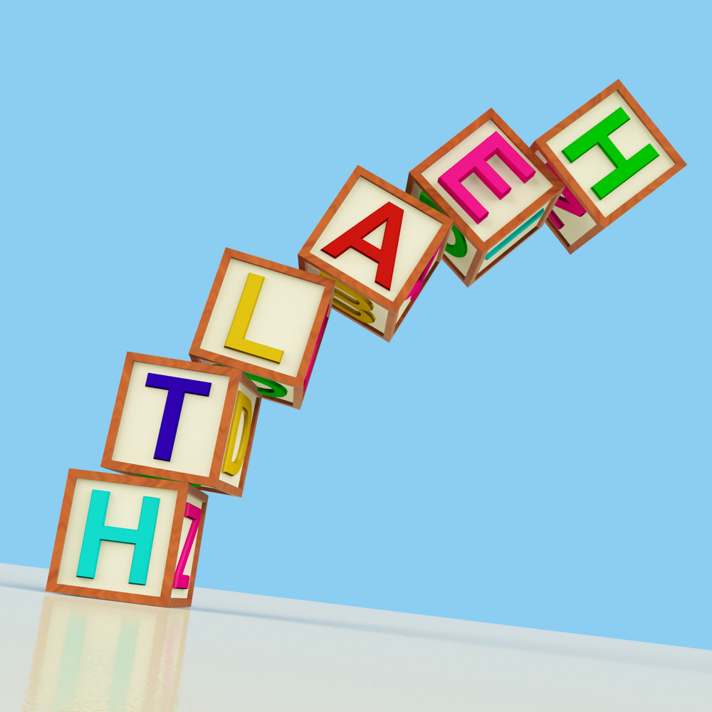 Blocks Spelling Health Falling Over As Symbol For Healthcare Or Failing Wellbeing