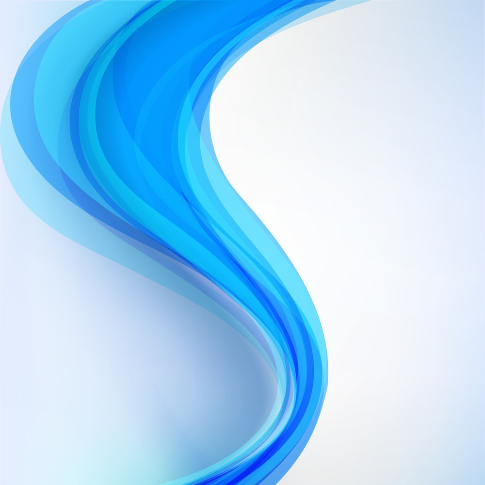 Blue Abstract Composition With Waves