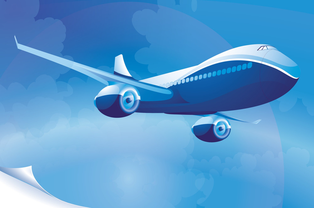 Blue Airplane. Vector Template.