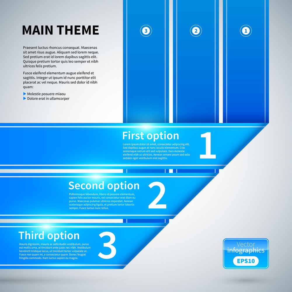 Three Blue Ribbons With Different Options. Useful For Presentations Or Charts.