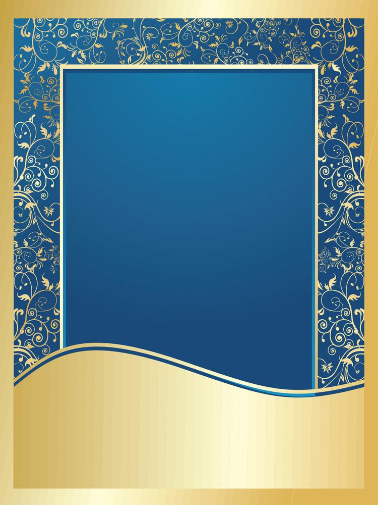 Blue And Golden Floral Wallpaper