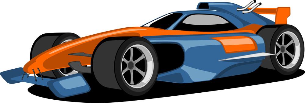 Blue And Orange Formula One Car.
