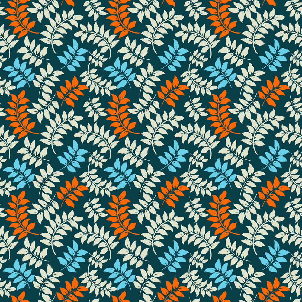 Blue And Orange Vine Pattern