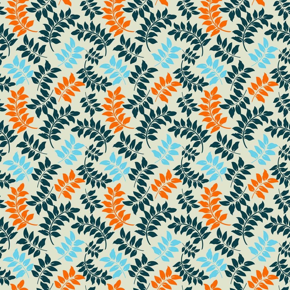Blue And Orange Vines Pattern