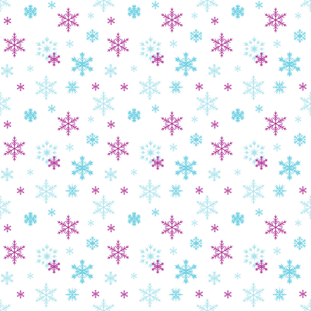 Blue And Purple Snowflake Pattern On White Frozen Inspired Paper