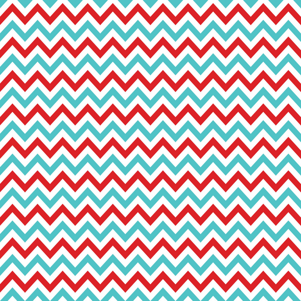 Blue And Red Chevron Cat And Hat Pattern