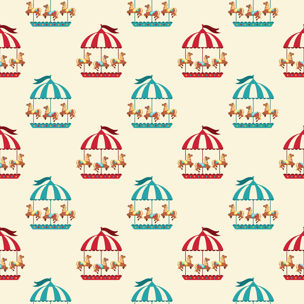 Blue And Red Circus Carousel Pattern