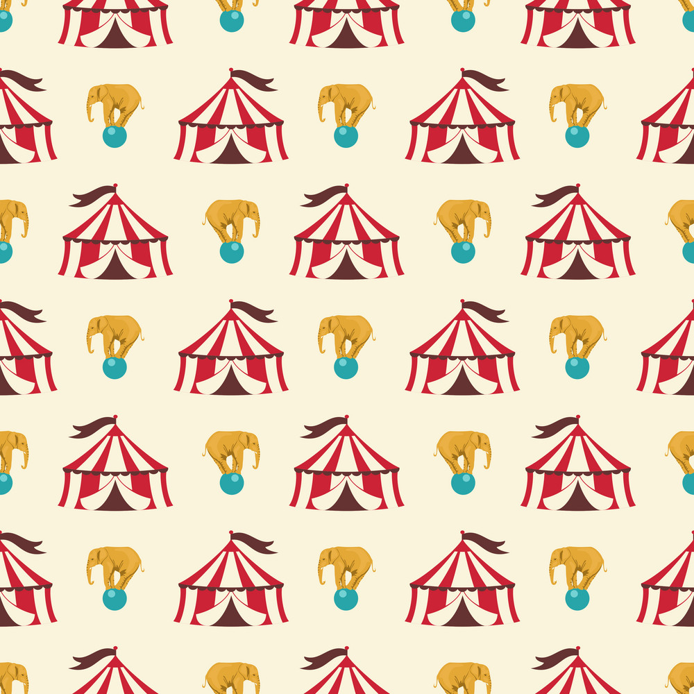 Blue And Red Circus Tent And Elephant Pattern