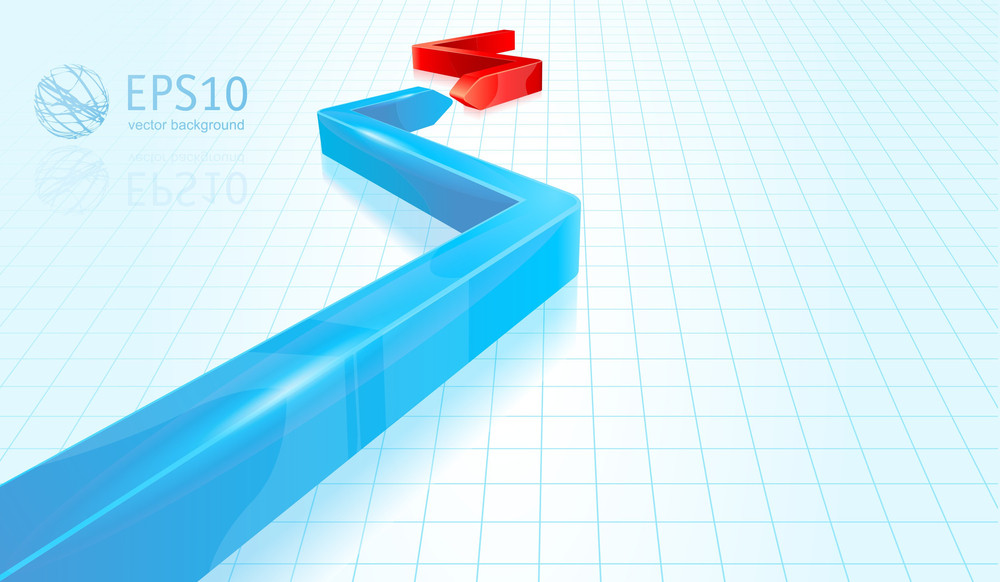 Blue And Red Glossy Arrows. Business Strategy Vector Abstract.