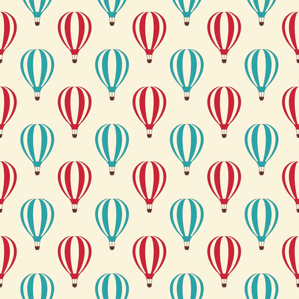 Blue And Red Hot Air Balloon Circus Pattern
