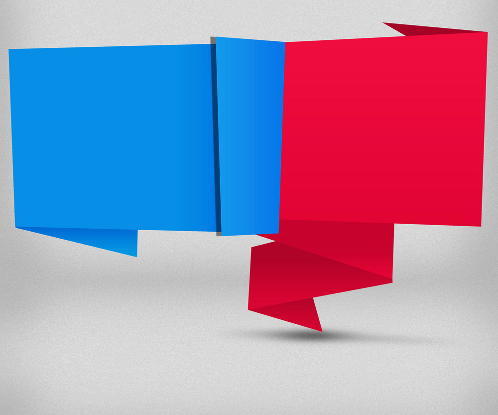 Blue And Red Origami Background