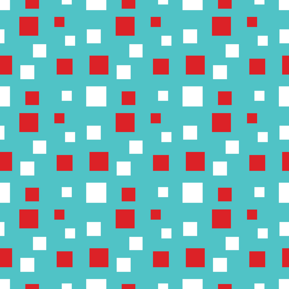 Blue And Red Squares Cat And Hat Pattern
