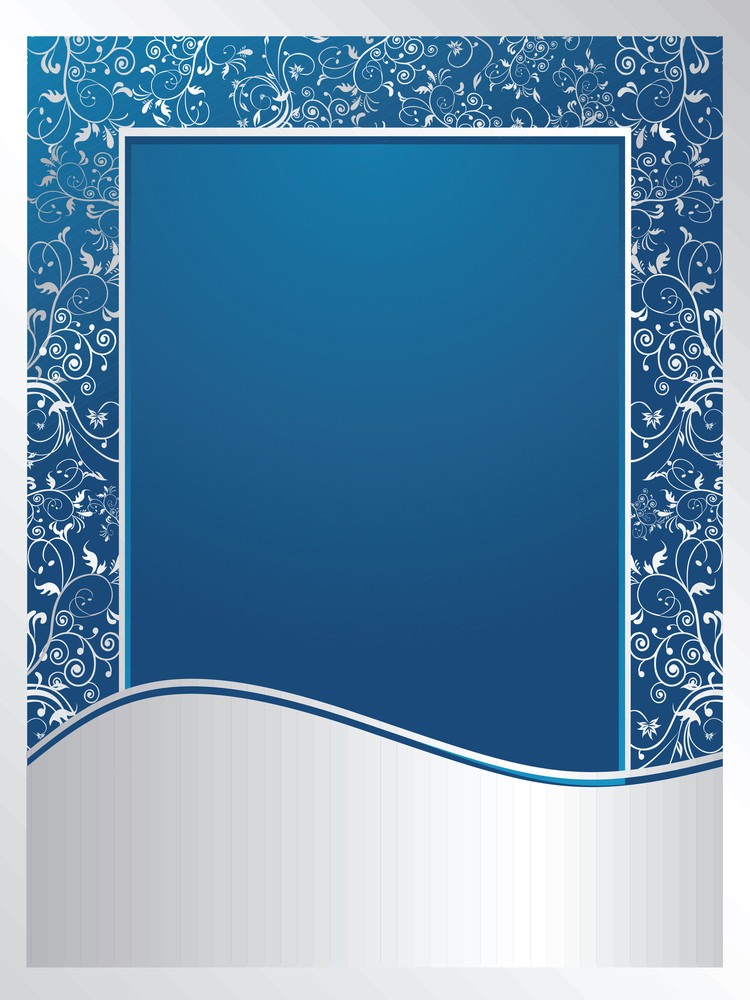 Blue And Silver Floral Wallpaper