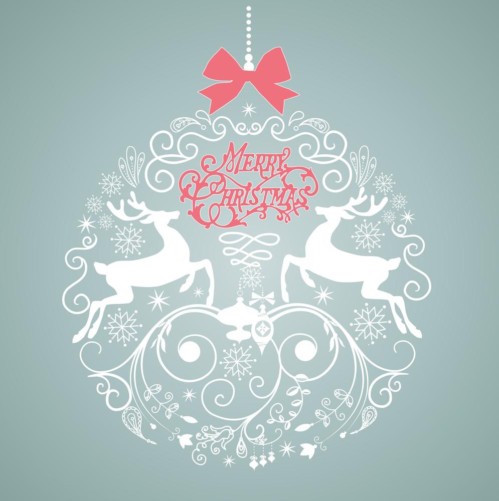 Blue And White Christmas Ball Illustration.